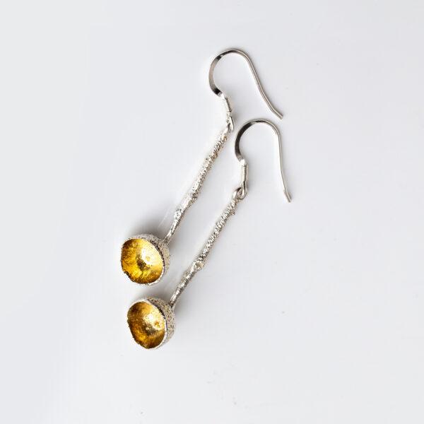Acorn drop sterling silver earrings