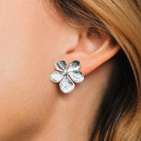 Handmade Sterling Silver Hydrangea stud Earrings
