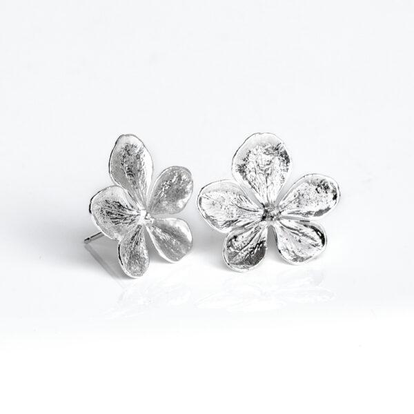 Sterling silver hydrangea flower stud earrings
