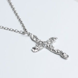 Sterling silver crucifix quince textured on chain