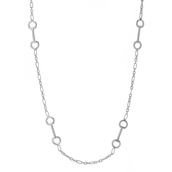 Sterling silver snaffle figaro chain