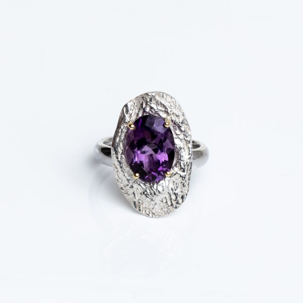 Silver Cholla Wood Ring faceted Amethyst, 18ct gold claws