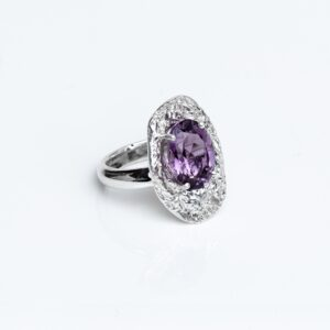 Silver Cholla Wood Ring faceted oval Amethyst