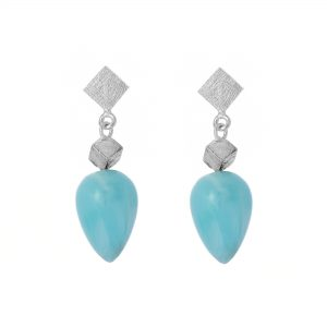Stud earrings with frosted silver cubes and Larimar gemstone drops