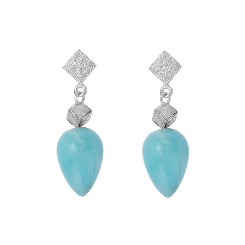 Larimar gemstone dangle earrings with sterling silver