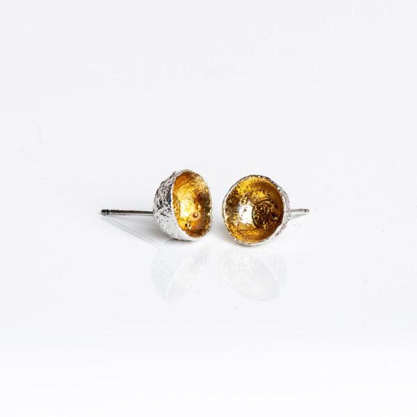 Sterling silver acorn cup stud earring