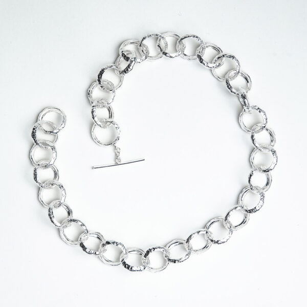 Chunky silver belcher chain handmade textured round hoops smooth inside