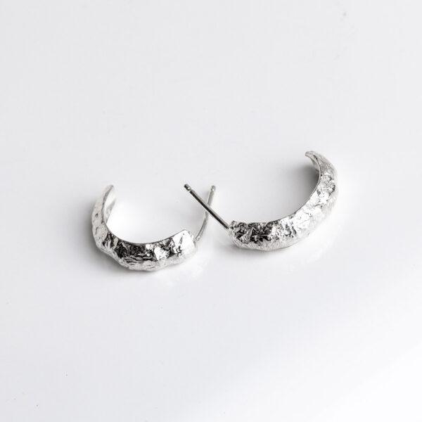 Half hoop earrings textured silver