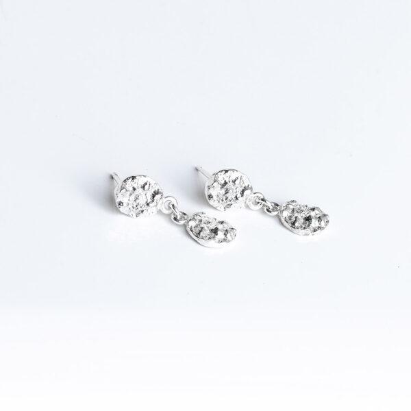 Textured sterling silver dangle earrings by Jane orton