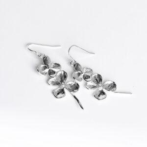 Two hydrangea buds sterling silver dangle earrings