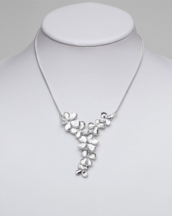 Sterling silver hydrangea necklace hand made spray of flowers