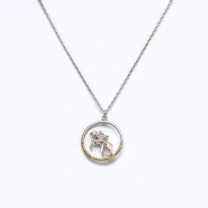 Sterling silver pendant on chain with horse and rider jumping a fence gold highlight