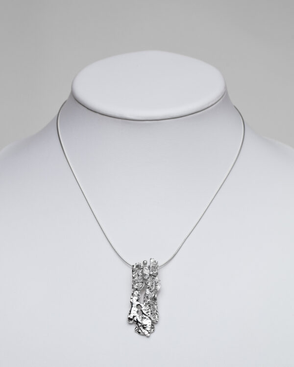 Rectangular Sterling Silver Reticulated chunky Pendant tactile