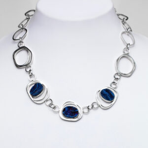 Sparkly blue druse chain necklace chunky