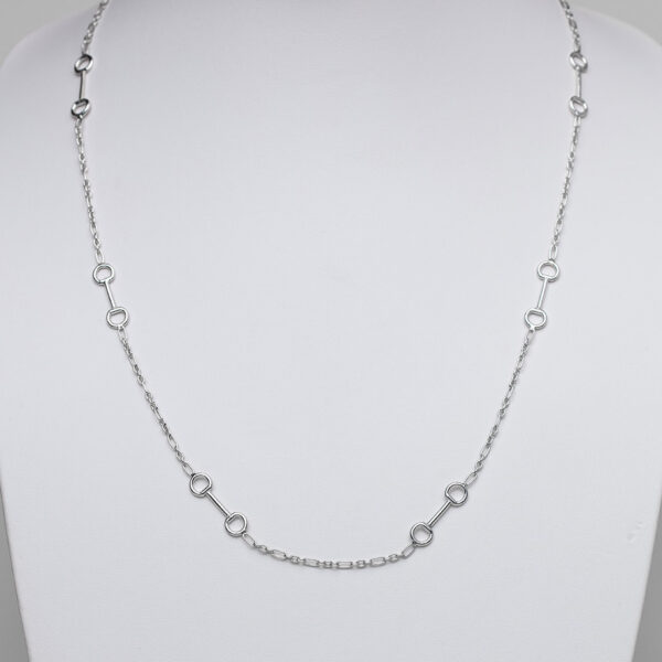 Sterling silver long snaffle necklace with figaro chain