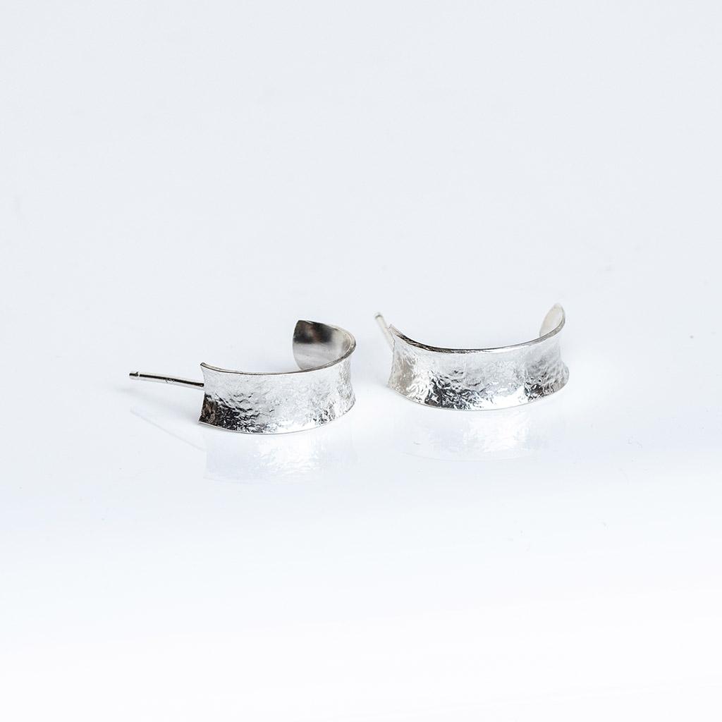 Sterling Silver Half Hoop Earrings.