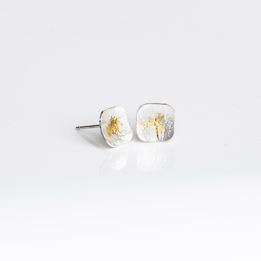 Lace textured Square Silver Earrings with Keum-Boo gold