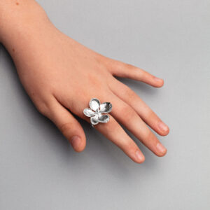 handmade sterling silver hydrangea flower bud ring on plain band