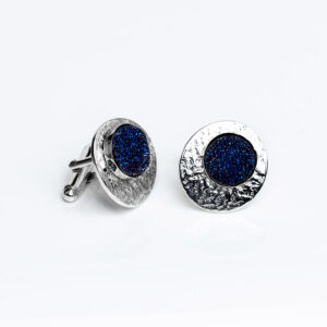 Sparkling blue druse gemstone , sterling Silver textured Cufflinks