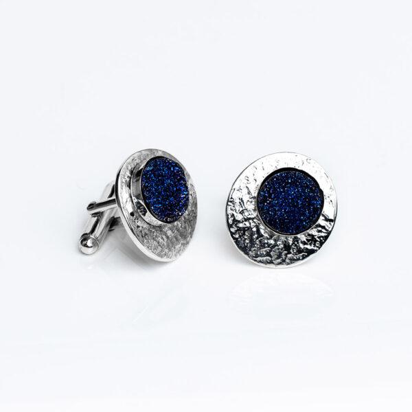 Sparkling blue druse gemstone , sterling Silver textured Cufflinks