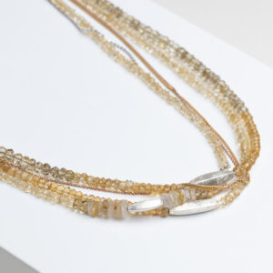 Three strings Seed bead citrine, frosted silver beads