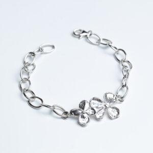 Sterling silver hydrangea flower bracelet on Chain