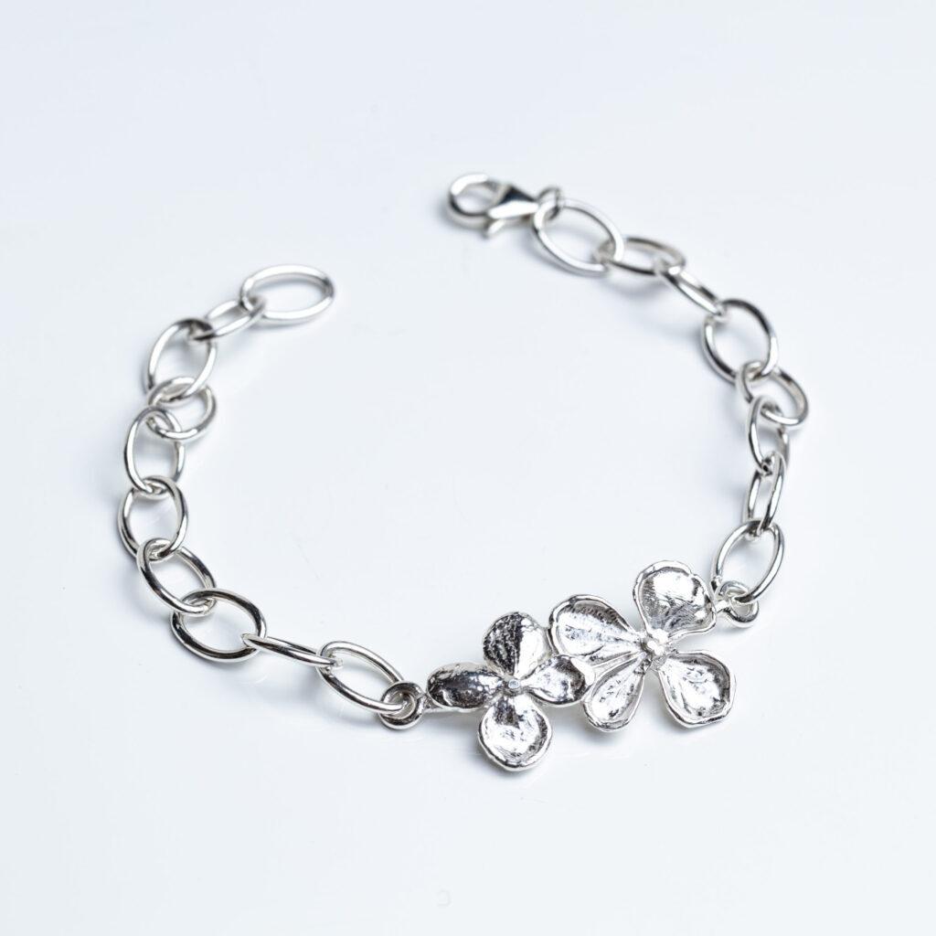 Silver Hydrangea Flower Chunky Chain Bracelet