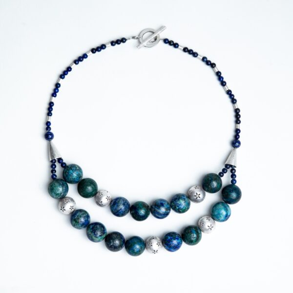 Azurite beads chunky necklace with silver beads and cones