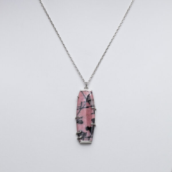 Pink and Black Rhodonite Gem stone pendant set in silver necklace