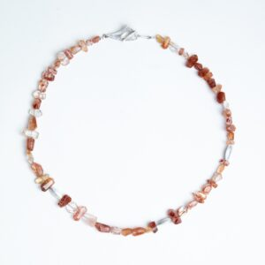 Red Hematiod quartz nugget necklace with silver navette beads