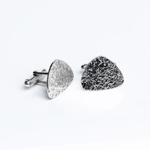 Sterling silver textured triangle shape Cufflinks swivel backs