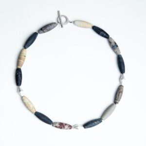 Picture jasper bead necklace with silver