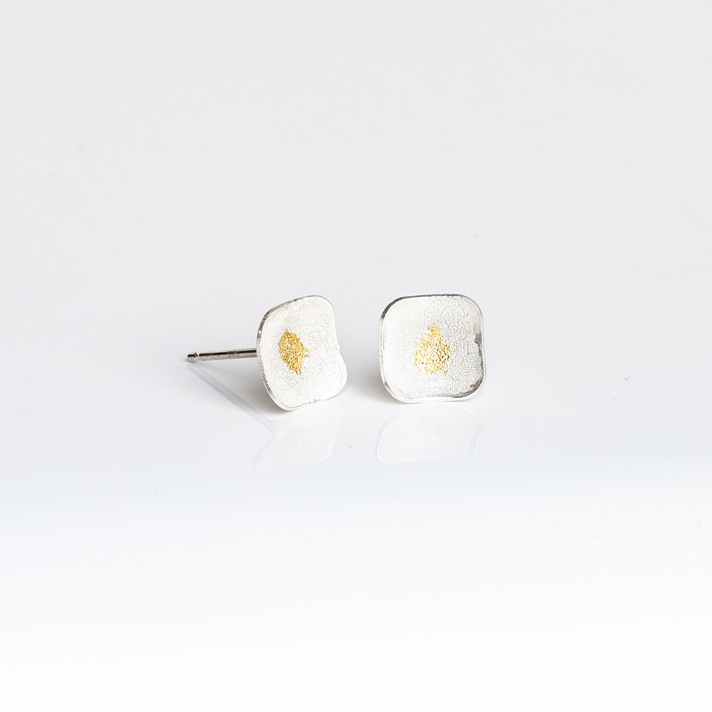 Frosted square silver earrings with Keum-Boo gold