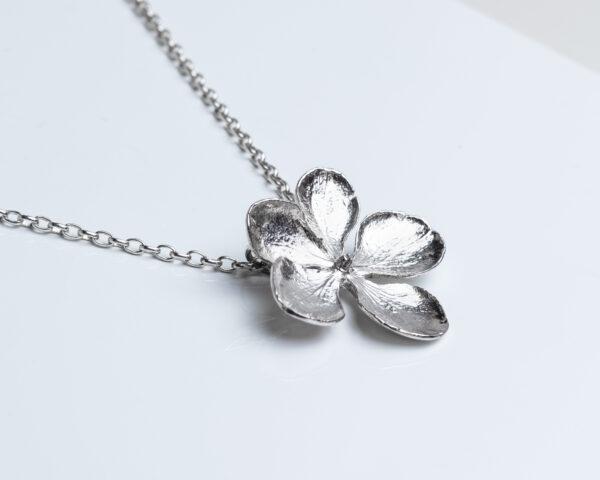 Hydrangea flower pendant on chain