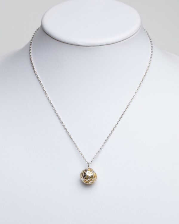 Silver Etched ball pendant with gold