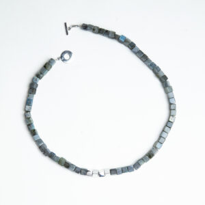 Cubed labradorite and silver bead necklace