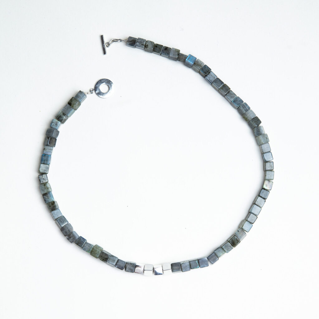 Cubed Labradorite and Silver necklace