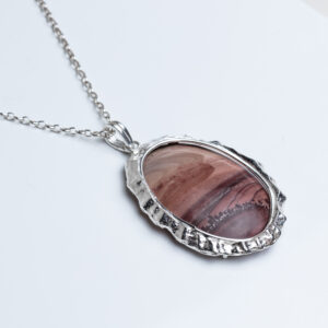 Mibres Picture Jasper pink and wine colours with textured Sterling Silver Pendant Necklace