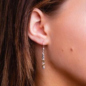Geometric pattern silver with gold dangle earrings