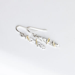 Sterling Silver geometric line dangling earrings with gold highlights
