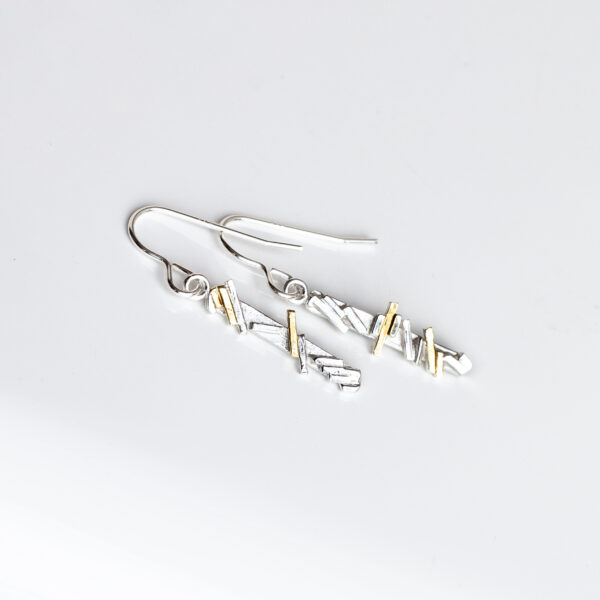 Sterling Silver geometric line dangling earringswith gold highlights