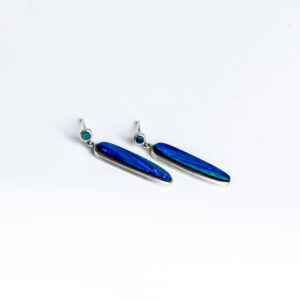 Blue silver long oval Opal and diamond earrings