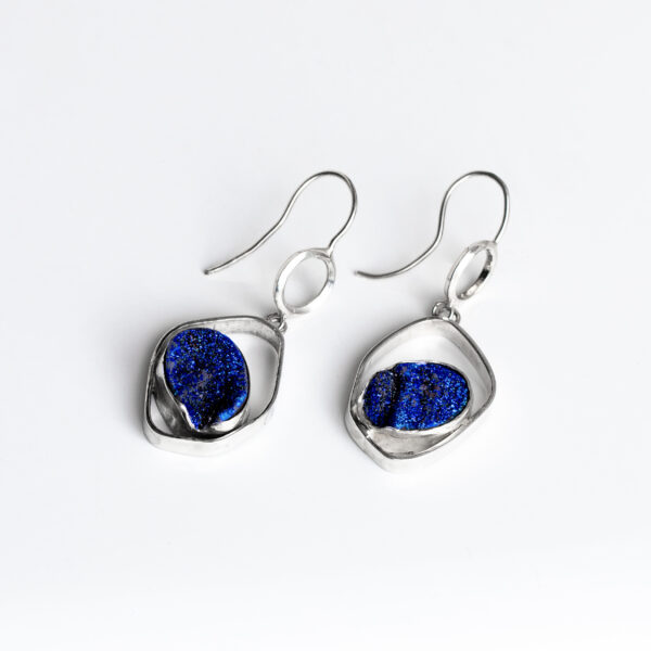 Silver and blue druse sparkling earrings