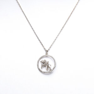 Sterling silver pendant on chain with horse and rider jumping a fence