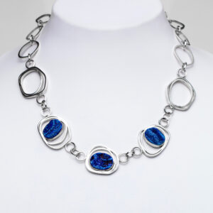 Sparkling Blue druse and silver necklace.