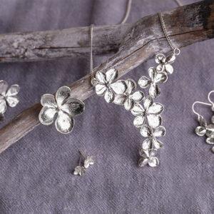 Jane Orton hydrangea jewellery on a cloth