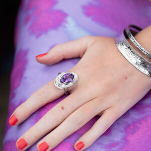Textured-Bangles-with-Amethyst-Ring