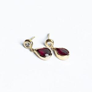 Handmade Ruby and Diamond Dangle Drop 18ct yellow gold earrings