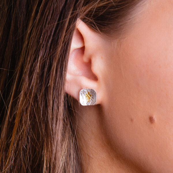 Silver lace textured earrings with gold