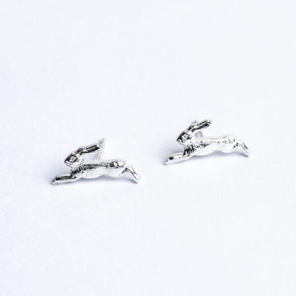 Sterling silver handmade Hare stud earrings janeorton.com